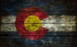 Flag of colorado. On wooden background royalty free stock images
