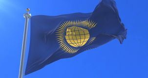 Flag of the commonwealth of nations. Waving at wind with blue sky, looped stock video footage