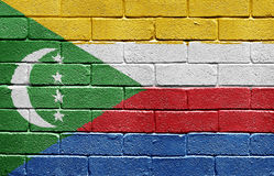 Flag of Comoros on brick wall Royalty Free Stock Photo