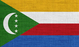 Flag of Comoros on old linen Stock Photo