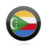 Flag of Comoros. Shiny black round button. Royalty Free Stock Photo