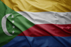 Flag of Comoros. Waving colorful national Comoros flag Stock Photography