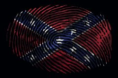Flag of the Confederates in the form of a fingerprint on a black background royalty free illustration