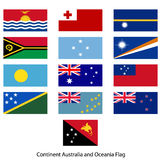 Flag Continent Australia and Oceania. Set Royalty Free Stock Images