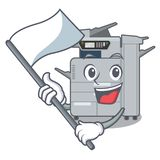 With flag copier machine next to character chair. Vector illustration royalty free illustration