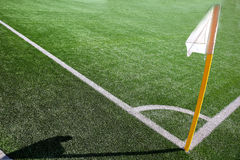 Flag on the corner of football field with shadow Royalty Free Stock Photos
