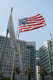 Flag and Corporate Building Stock Images