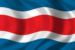 Flag of Costa Rica. Waving in the wind Royalty Free Stock Images