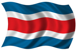 Flag of Costa Rica. Waving in the wind Royalty Free Stock Photography