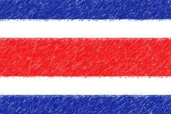 Flag of Costa Rica background o texture, color pencil effect. vector illustration