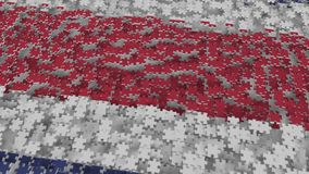 Flag of Costa Rica being made with jigsaw puzzle pieces. Problem solution conceptual 3D rendering. Flag made of puzzle pieces, conceptual 3D royalty free illustration
