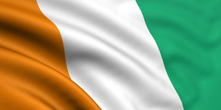 Flag Of Cote D'Ivoire. 3d rendered and waving flag of cote d'ivoire stock image