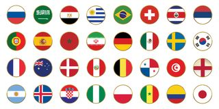 Flag of 32 countries football championship 2018 Russia. Soccer worlds championship Stock Photography