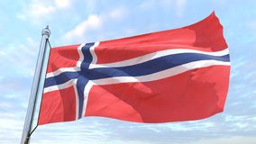 Weaving flag of the country Norway. Flag of the country Norway weaving in the air. Flying in the sky stock photo