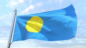 Weaving flag of the country Palau. Flag of the country Palau weaving in the air. Flying in the sky stock image