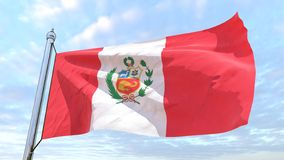Weaving flag of the country Peru. Flag of the country Peru weaving in the air. Flying in the sky royalty free stock photos