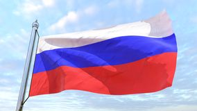Weaving flag of the country Russia. Flag of the country Russia weaving in the air. Flying in the sky royalty free stock photos