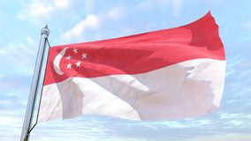 Weaving flag of the country Singapore. Flag of the country Singapore weaving in the air. Flying in the sky royalty free stock images