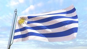 Weaving flag of the country Uruguay. Flag of the country Uruguay weaving in the air. Flying in the sky stock photography