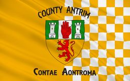 Flag of County Antrim in Ireland. Flag of County Antrim (named after the town of Antrim) is one of six counties that form Northern Ireland, situated in stock photos