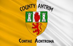 Flag of County Antrim in Ireland. Flag of County Antrim (named after the town of Antrim) is one of six counties that form Northern Ireland, situated in stock image