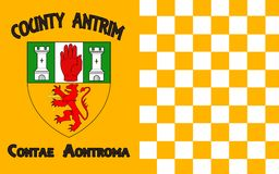 Flag of County Antrim in Ireland. Flag of County Antrim (named after the town of Antrim) is one of six counties that form Northern Ireland, situated in royalty free stock images