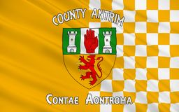 Flag of County Antrim in Ireland. Flag of County Antrim (named after the town of Antrim) is one of six counties that form Northern Ireland, situated in royalty free stock photography