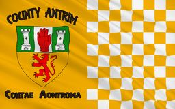 Flag of County Antrim in Ireland. Flag of County Antrim (named after the town of Antrim) is one of six counties that form Northern Ireland, situated in stock photo