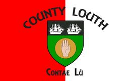 Flag of County Louth in Ireland. It is in the province of Leinster and is part of the Border Region stock photo