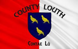 Flag of County Louth in Ireland. It is in the province of Leinster and is part of the Border Region stock images