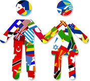 Flag Couple. Digital illustration of a silhouette couple made up of world flags holding hands Royalty Free Stock Photo