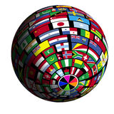 Flag-covered earth - Polar2 view Royalty Free Stock Image