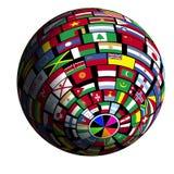 Flag-covered earth - Polar3 view stock illustration