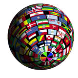 Flag-covered earth - Polar4 view Royalty Free Stock Photos