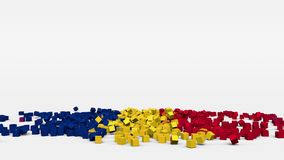 Flag of Romania created from 3d cubes in slow motion. Flag created from reversed falling motion of cubes