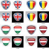 Flag Crests. Glossy flag crests with metallic chrome frame. Great for icons, buttons and emblems vector illustration