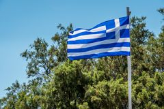 Flag of the crete. In sunny day Royalty Free Stock Photography