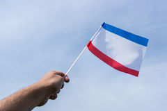Flag of Crimea on the hand. Waving on the wind Stock Image