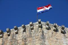 Flag of Croatia. Croatia - Trogir in Dalmatia (UNESCO World Heritage Site). Croatian flag atop Kamerlengo Castle Royalty Free Stock Photography