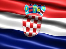 Flag of Croatia. Computer generated illustration of the flag of Croatia with silky appearance and waves Royalty Free Stock Photo