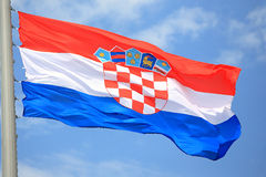 Flag of Croatia. Against the sky Royalty Free Stock Image