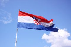 The flag of Croatia on blue sky Royalty Free Stock Image