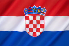 Flag of Croatia. The flag combines the colors of the flags of the Kingdom of Croatia (red and white), the Kingdom of Slavonia (white and blue) and the Kingdom Stock Photo