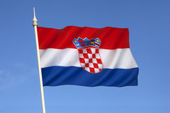 The flag of Croatia - Europe. The flag of Croatia combines the colors of the flags of the Kingdom of Croatia (red and white), the Kingdom of Slavonia (white and Stock Image