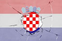 Flag of Croatia on glass. Flag of Croatia on a on glass breakage stock illustration