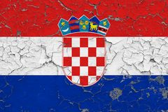 Flag of Croatia painted on cracked dirty wall. National pattern on vintage style surface stock photography