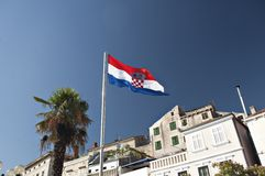 Flag of Croatia in Sibenik Stock Image