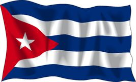 Flag of Cuba. Waving flag of Cuba isolated on white Stock Photos