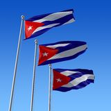 Flag of Cuba against blue sky. 3d illustration. Stock Photos