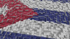 Flag of Cuba being made with jigsaw puzzle pieces. Cuban problem solution conceptual 3D rendering. Flag made of puzzle pieces, conceptual 3D stock illustration